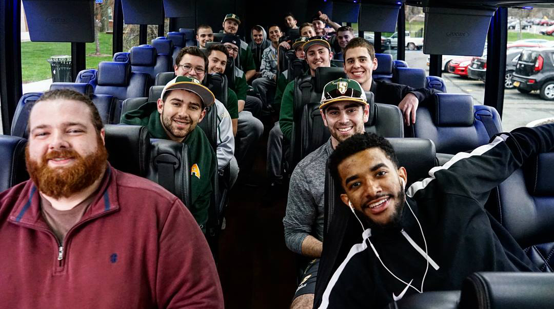 Siena team on bus