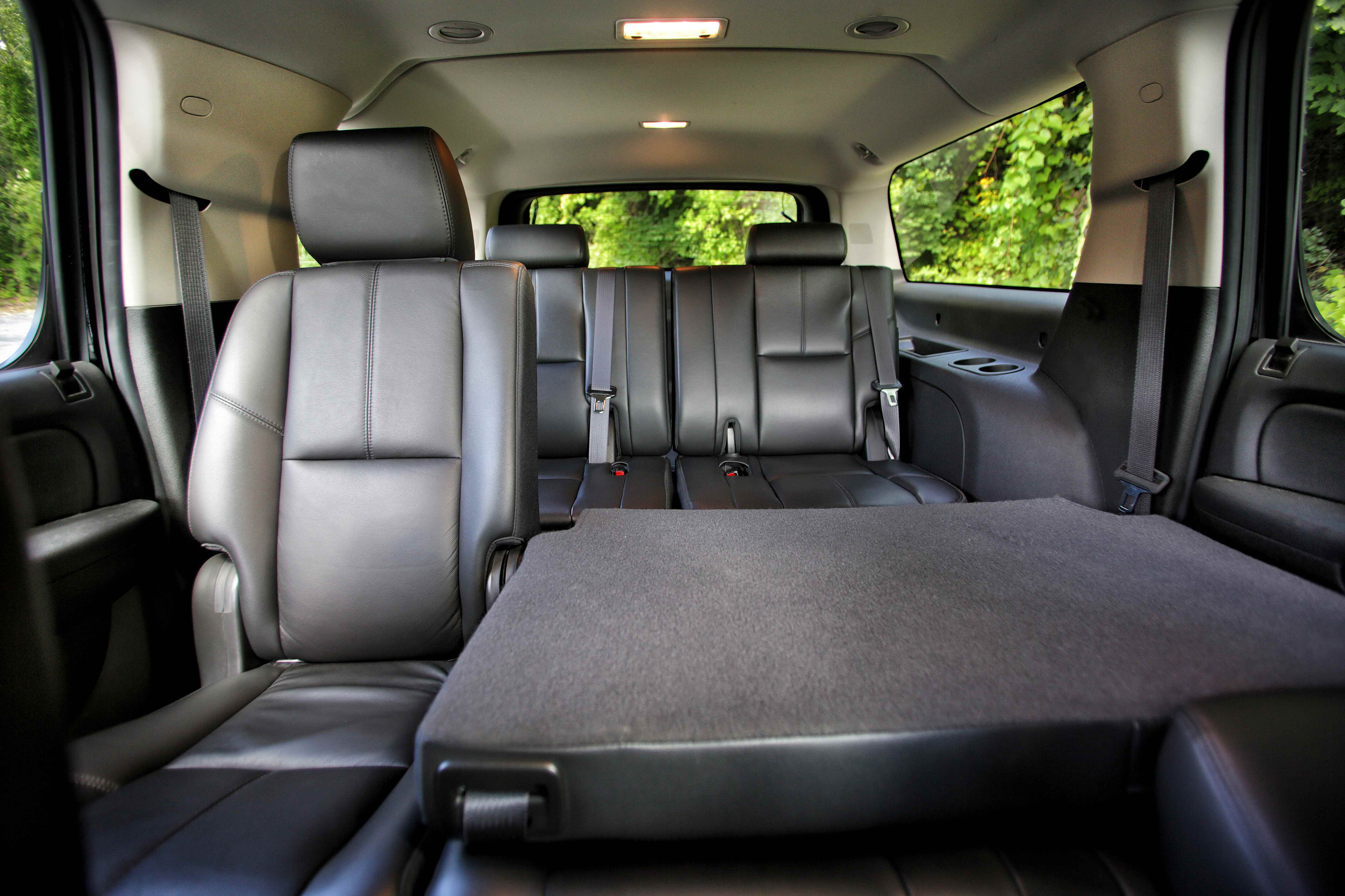 SUV interior with seat folded down