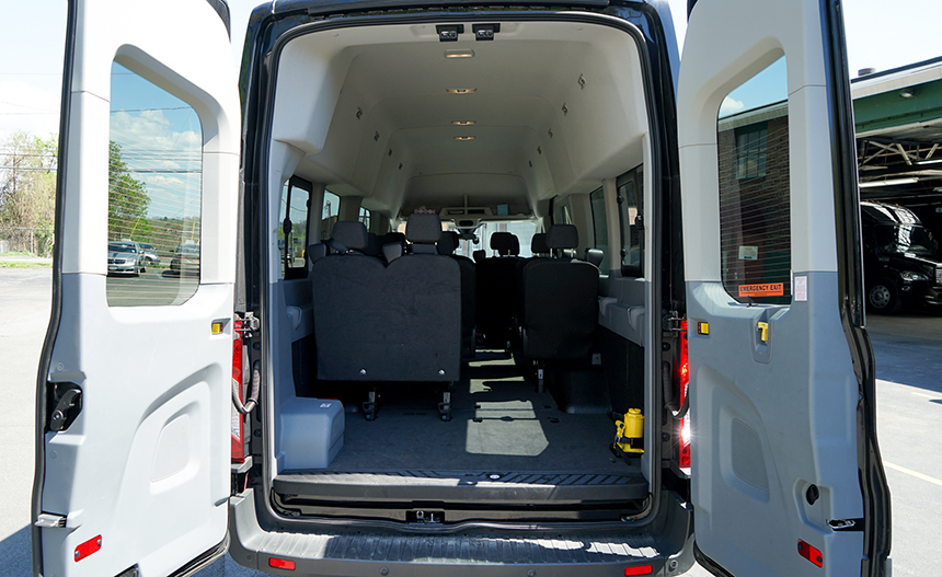 Back view of van passenger compartment